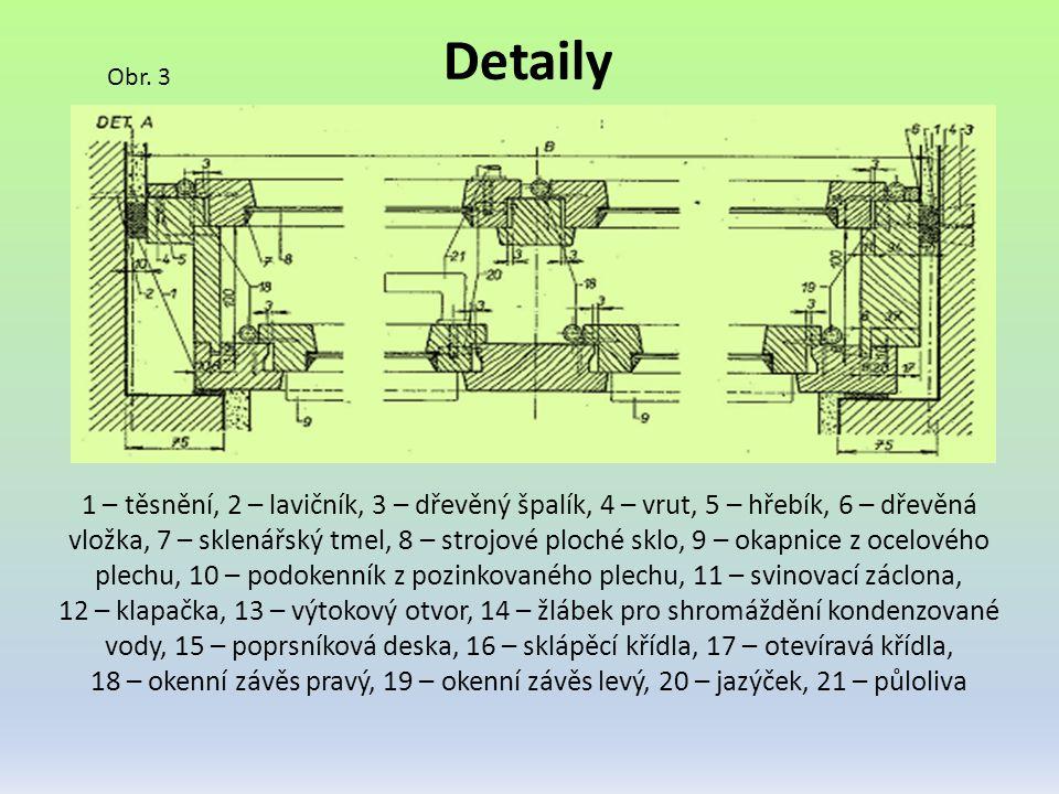 Detaily Obr. 3 1 – těsnění, 2 – lavičník, 3 – dřevěný špalík, 4 – vrut, 5 – hřebík, 6 – dřevěná vložka, 7 – sklenářský tmel, 8 – strojové ploché sklo,