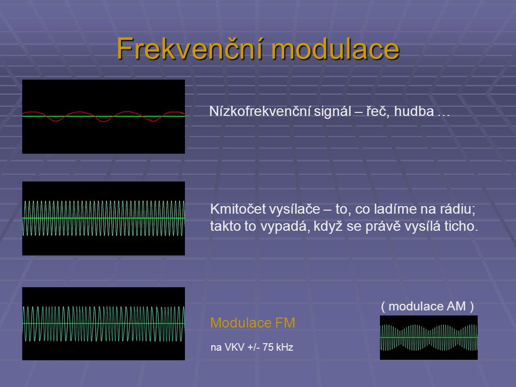 Frekvenční modulace Nízkofrekvenční signál – řeč, hudba … Kmitočet vysílače – to, co ladíme na rádiu; takto to vypadá, když se právě vysílá ticho. Mod