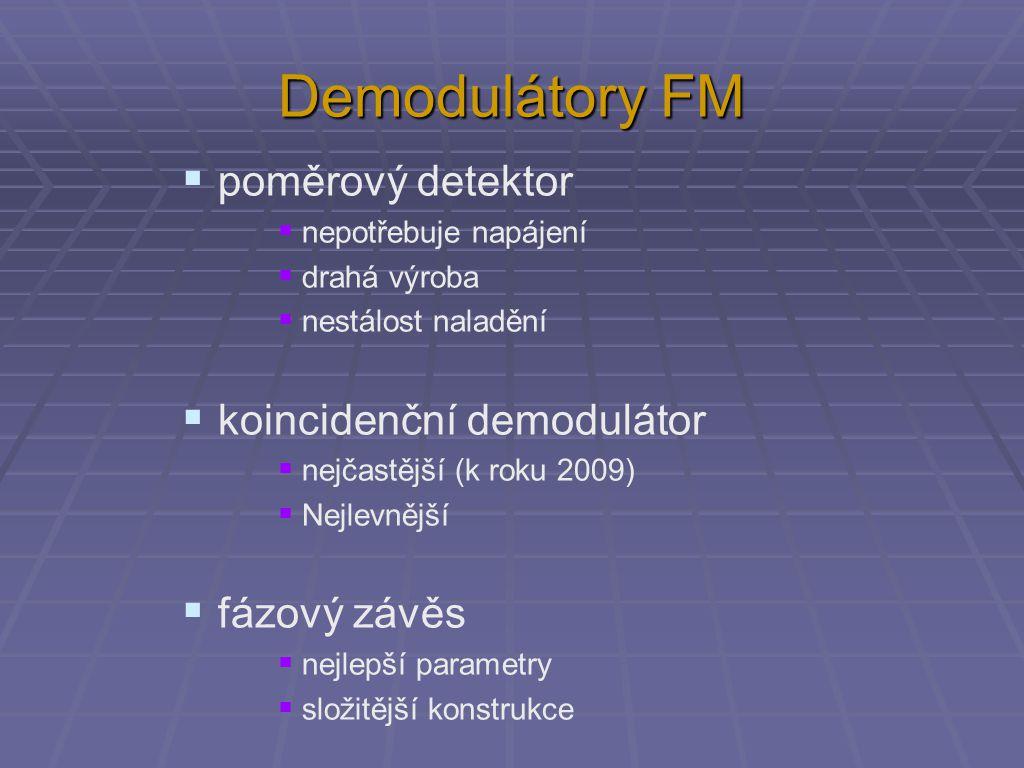  poměrový detektor  nepotřebuje napájení  drahá výroba  nestálost naladění  koincidenční demodulátor  nejčastější (k roku 2009)  Nejlevnější 