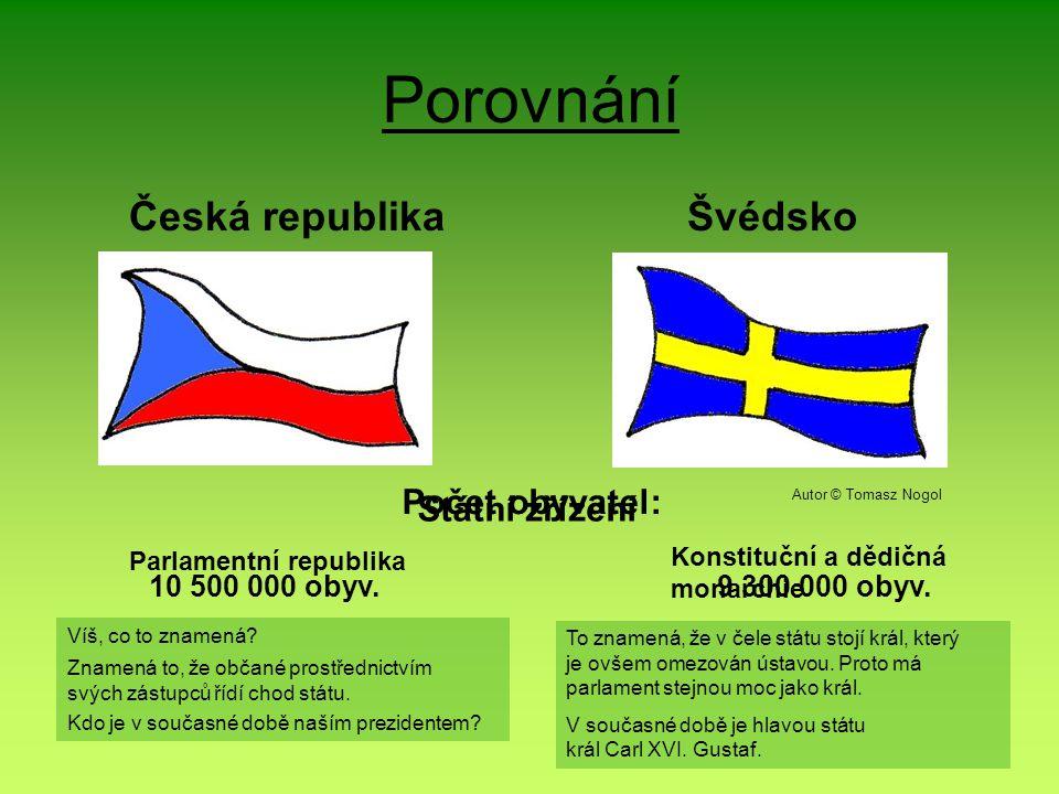 Porovnání Česká republikaŠvédsko Počet obyvatel: Státní zřízení Parlamentní republika Konstituční a dědičná monarchie 10 500 000 obyv.9 300 000 obyv.