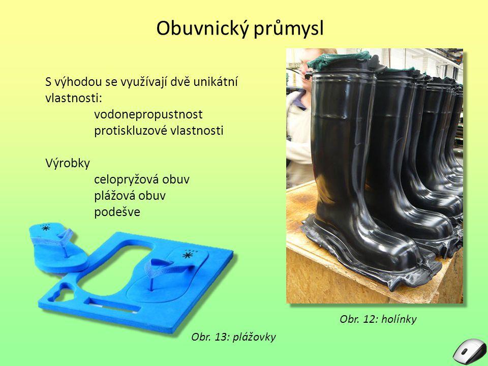 Obuvnický průmysl S výhodou se využívají dvě unikátní vlastnosti: vodonepropustnost protiskluzové vlastnosti Výrobky celopryžová obuv plážová obuv pod