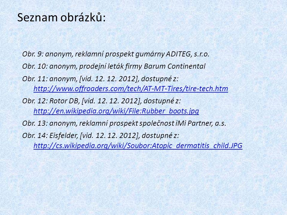 Seznam obrázků: Obr. 9: anonym, reklamní prospekt gumárny ADITEG, s.r.o. Obr. 10: anonym, prodejní leták firmy Barum Continental Obr. 11: anonym, [vid