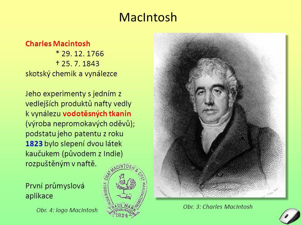 MacIntosh Charles Macintosh * 29. 12. 1766 † 25. 7. 1843 skotský chemik a vynálezce Jeho experimenty s jedním z vedlejších produktů nafty vedly k vyná
