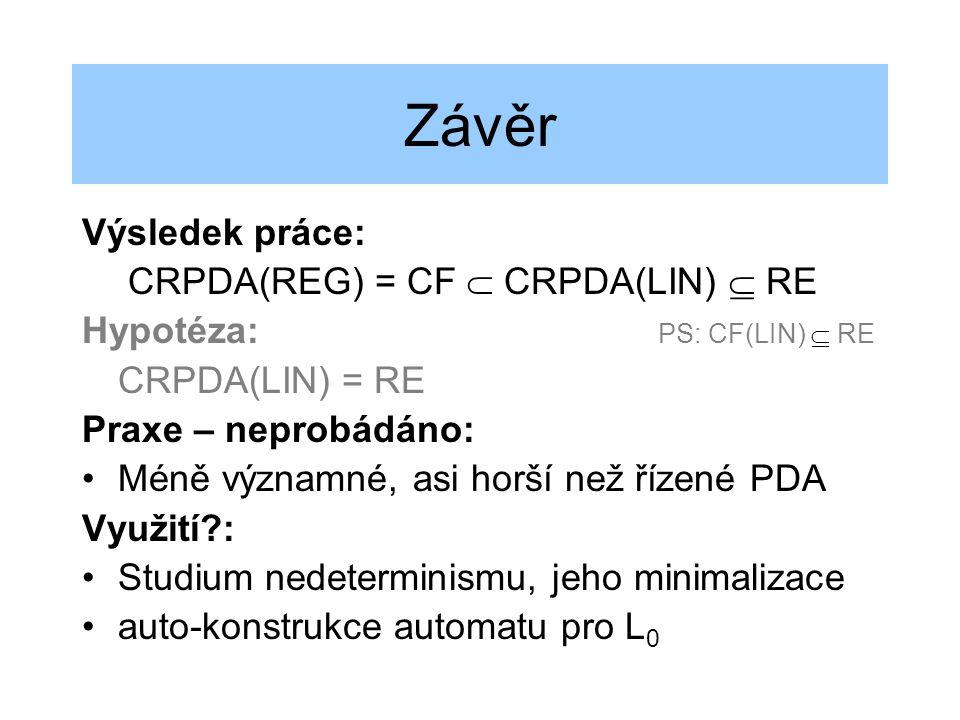 Závěr Výsledek práce: CRPDA(REG) = CF  CRPDA(LIN)  RE Hypotéza: PS: CF(LIN)  RE CRPDA(LIN) = RE Praxe – neprobádáno: Méně významné, asi horší než ř