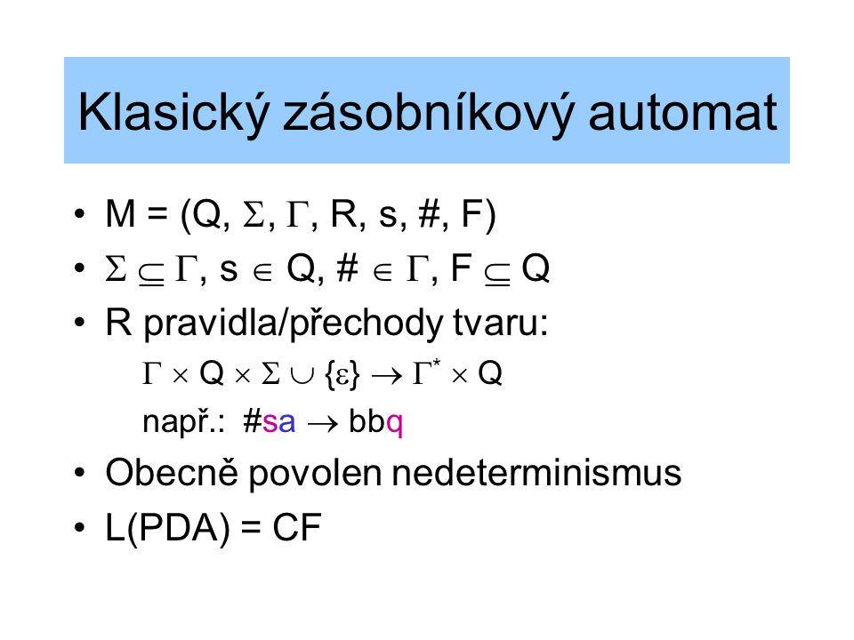 Klasický zásobníkový automat M = (Q, , , R, s, #, F)   , s  Q, #  , F  Q R pravidla/přechody tvaru:   Q    {  }   *  Q např.:#sa  b