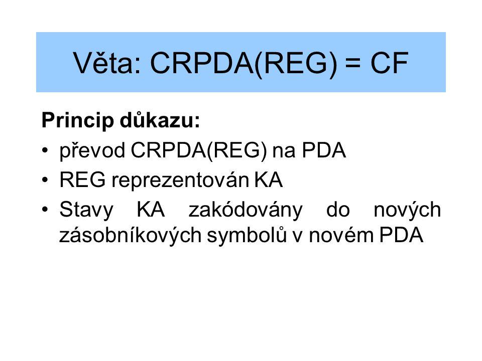 Věta: CRPDA(REG) = CF Princip důkazu: převod CRPDA(REG) na PDA REG reprezentován KA Stavy KA zakódovány do nových zásobníkových symbolů v novém PDA