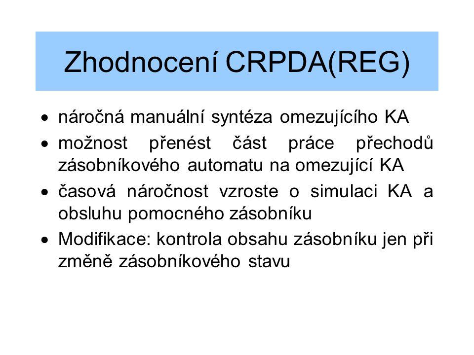 Zhodnocení CRPDA(REG)  náročná manuální syntéza omezujícího KA  možnost přenést část práce přechodů zásobníkového automatu na omezující KA  časová
