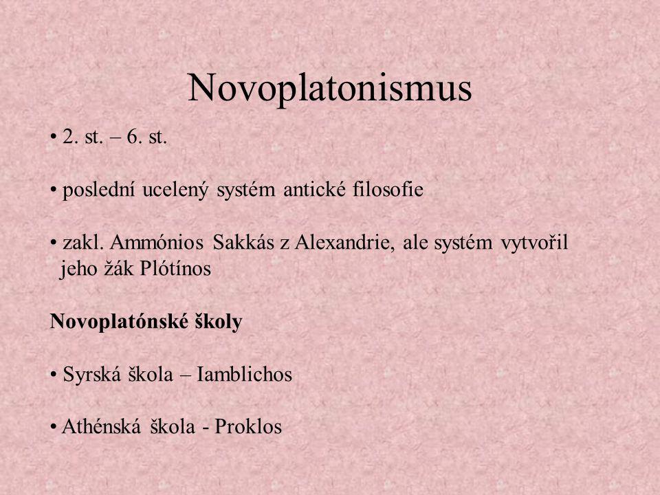 Novoplatonismus 2.st. – 6. st. poslední ucelený systém antické filosofie zakl.