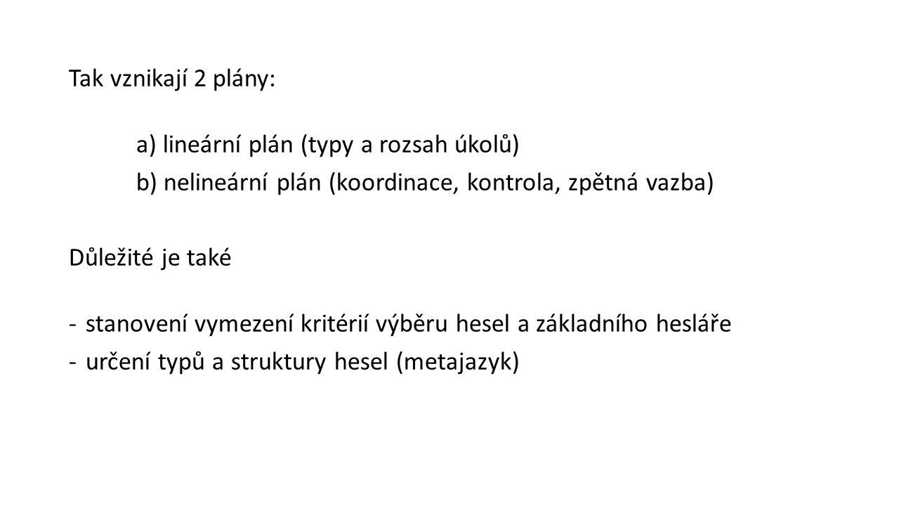 Tak vznikají 2 plány: a) lineární plán (typy a rozsah úkolů) b) nelineární plán (koordinace, kontrola, zpětná vazba) Důležité je také -stanovení vymez