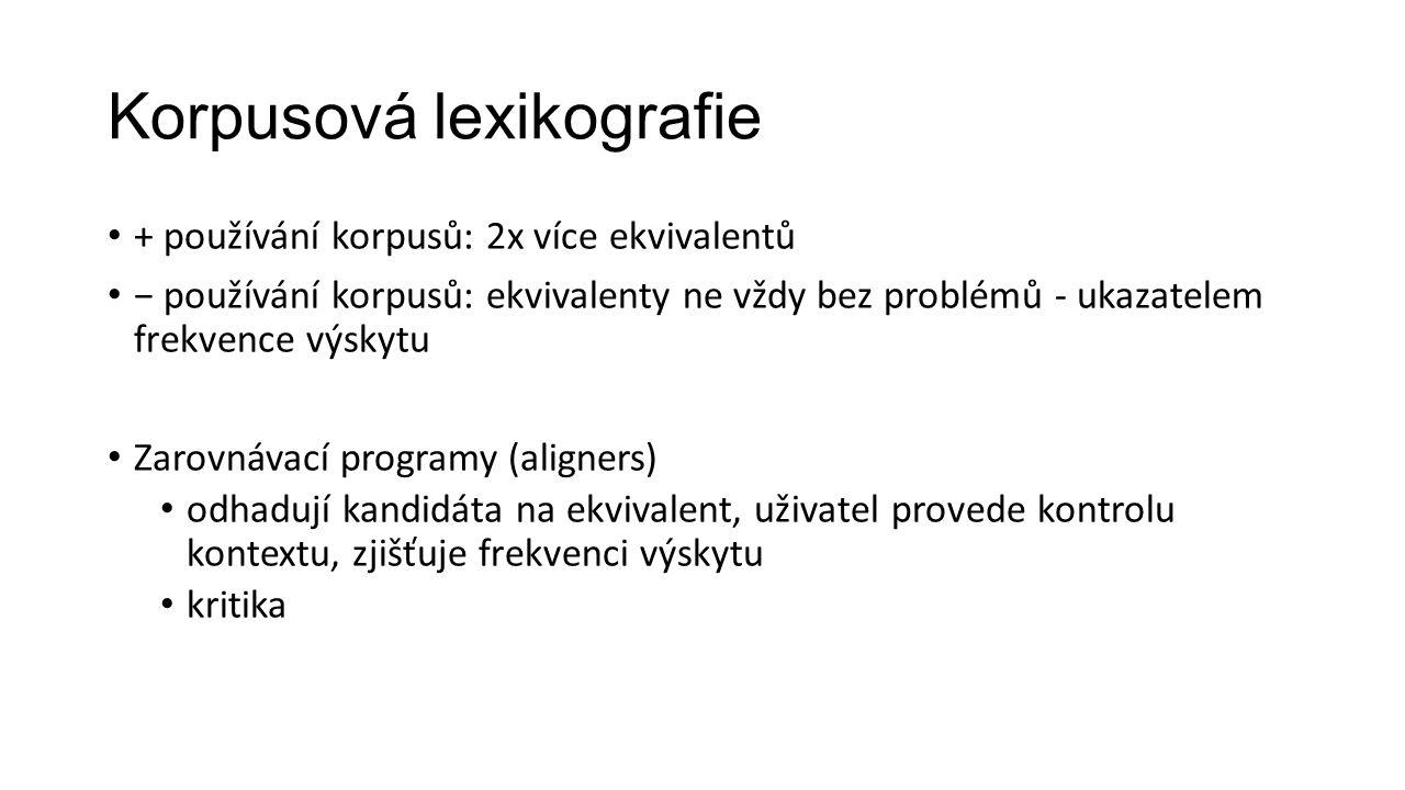 Korpusová lexikografie + používání korpusů: 2x více ekvivalentů − používání korpusů: ekvivalenty ne vždy bez problémů - ukazatelem frekvence výskytu Z