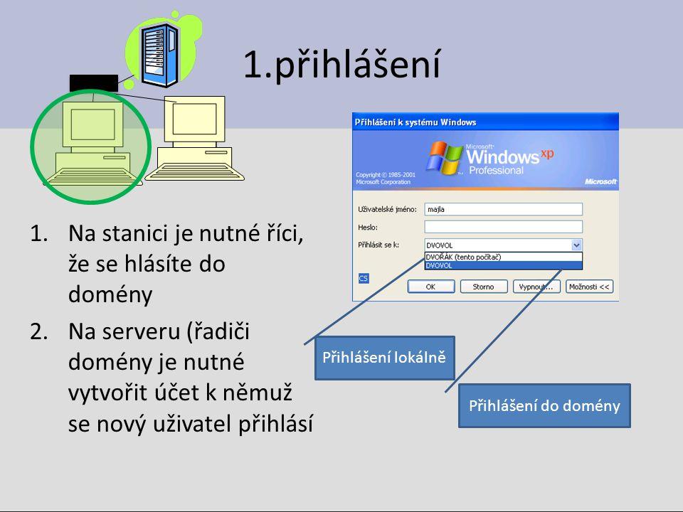 1.přihlášení 1.Na stanici je nutné říci, že se hlásíte do domény 2.Na serveru (řadiči domény je nutné vytvořit účet k němuž se nový uživatel přihlásí