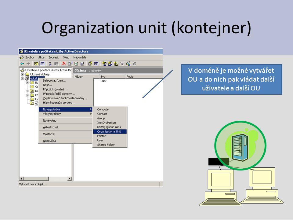 Organization unit (kontejner) V doméně je možné vytvářet OU a do nich pak vládat další uživatele a další OU