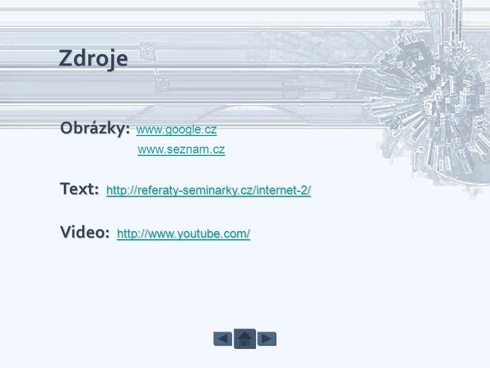 Zdroje Obrázky: www.google.cz www.seznam.cz Text: http://referaty-seminarky.cz/internet-2/ Text: http://referaty-seminarky.cz/internet-2/ Video: http: