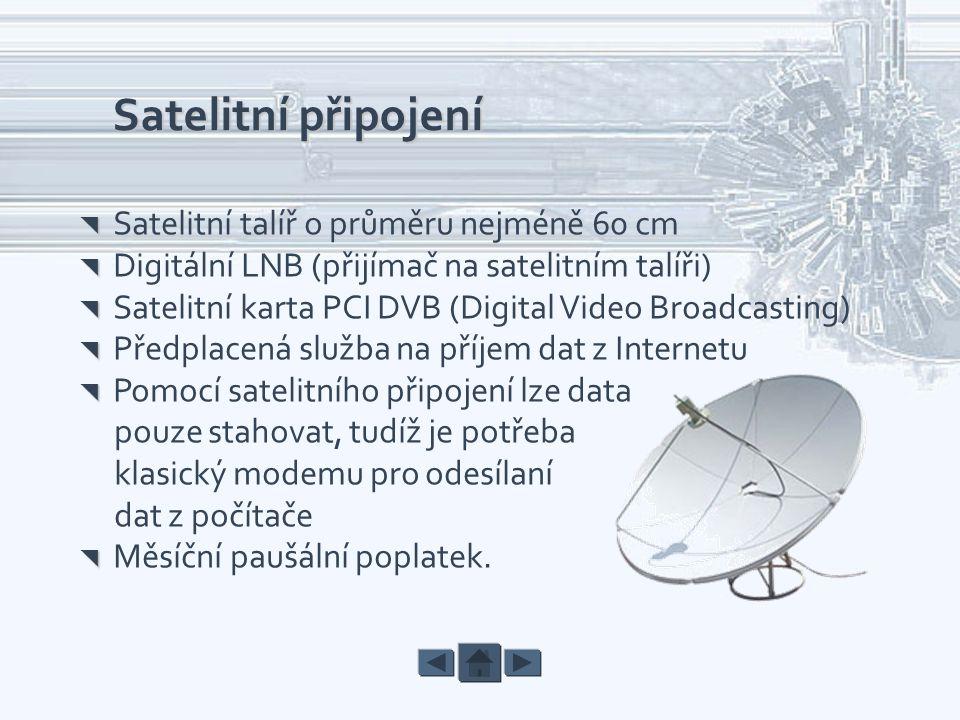Satelitní připojení   Satelitní talíř o průměru nejméně 60 cm   Digitální LNB (přijímač na satelitním talíři)   Satelitní karta PCI DVB (Digital