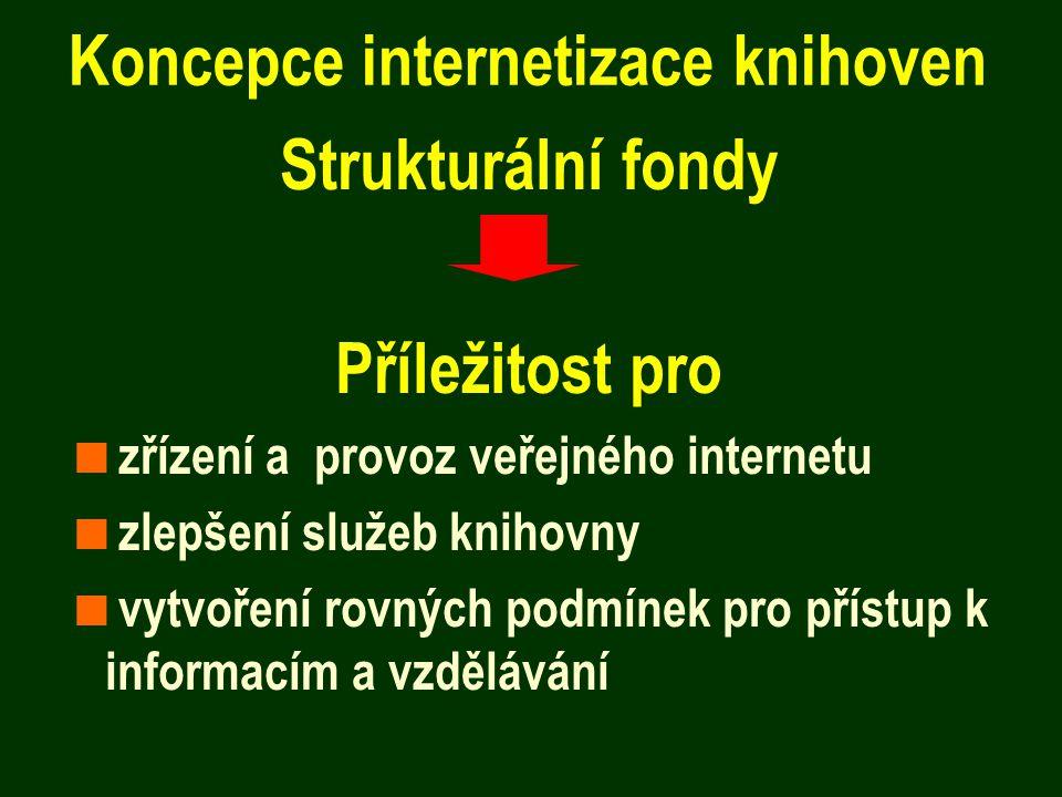 Koncepce internetizace knihoven Strukturální fondy Příležitost pro  zřízení a provoz veřejného internetu  zlepšení služeb knihovny  vytvoření rovných podmínek pro přístup k informacím a vzdělávání