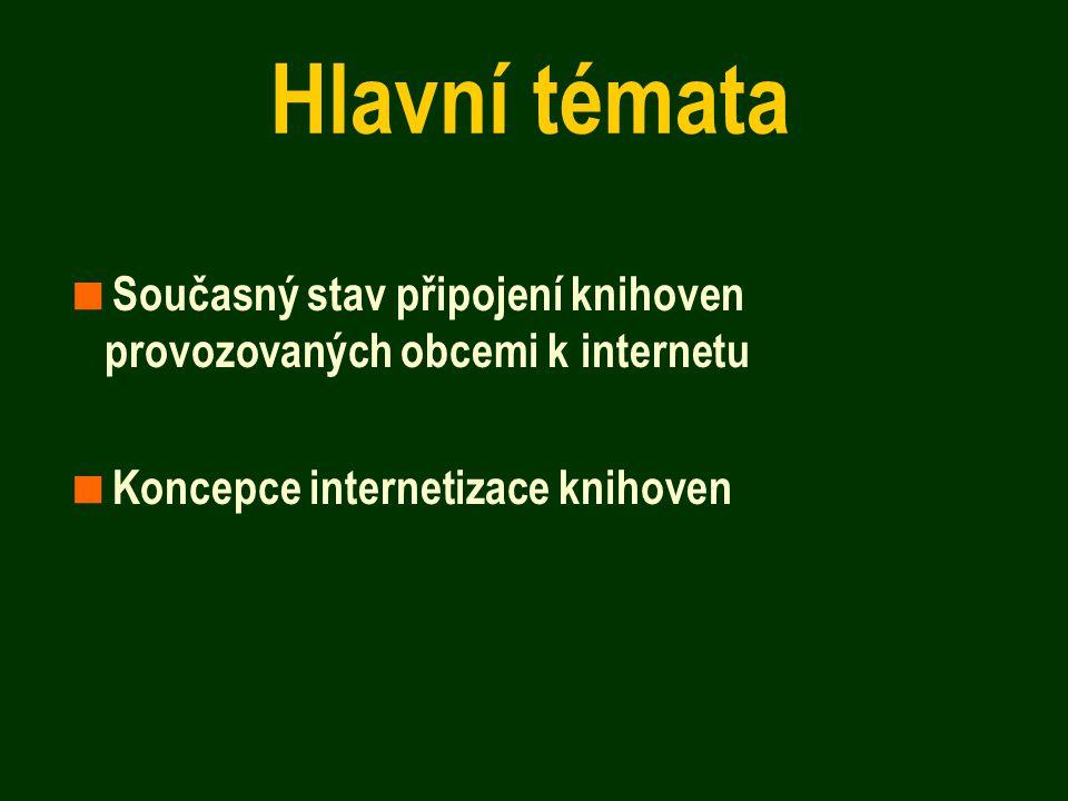 Hlavní témata  Současný stav připojení knihoven provozovaných obcemi k internetu  Koncepce internetizace knihoven