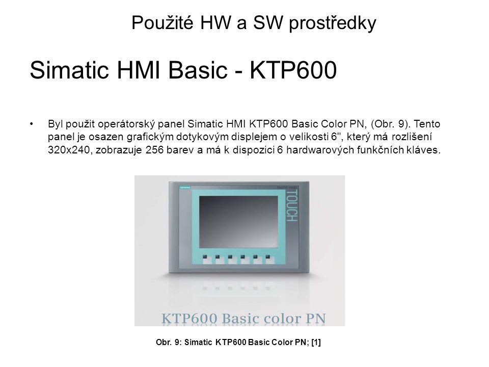 Byl použit operátorský panel Simatic HMI KTP600 Basic Color PN, (Obr.