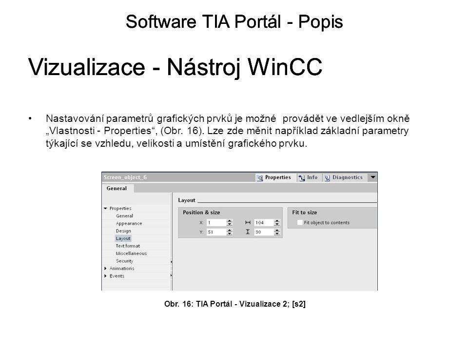 """Nastavování parametrů grafických prvků je možné provádět ve vedlejším okně """"Vlastnosti - Properties , (Obr."""