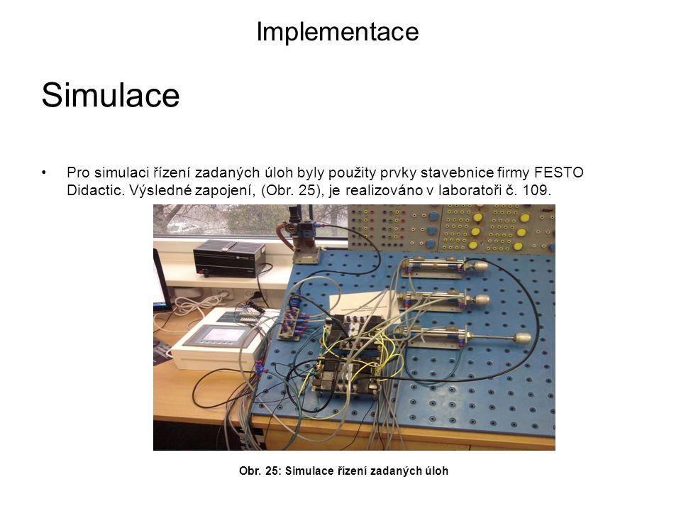 Pro simulaci řízení zadaných úloh byly použity prvky stavebnice firmy FESTO Didactic.