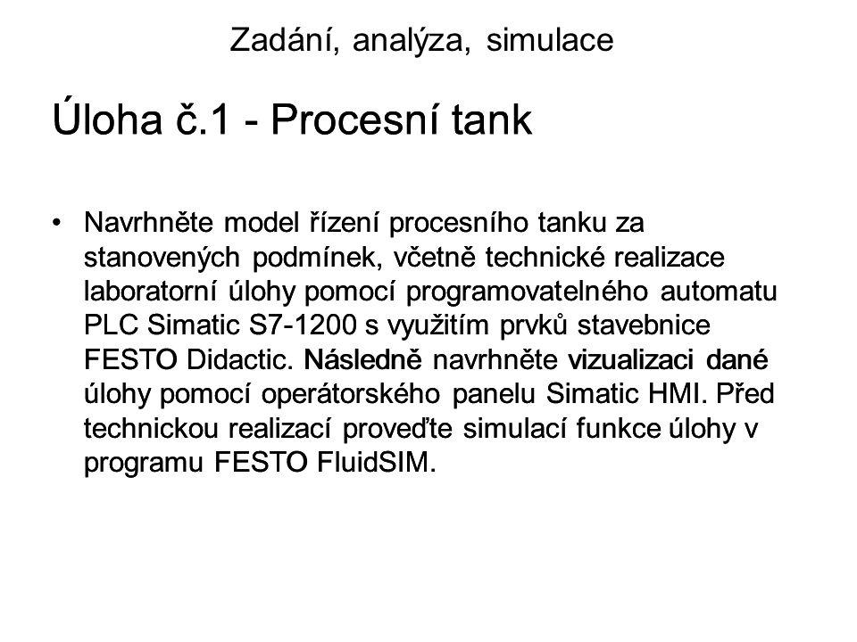 Úloha č.1 - Procesní tank Navrhněte model řízení procesního tanku za stanovených podmínek, včetně technické realizace laboratorní úlohy pomocí programovatelného automatu PLC Simatic S7-1200 s využitím prvků stavebnice FESTO Didactic.