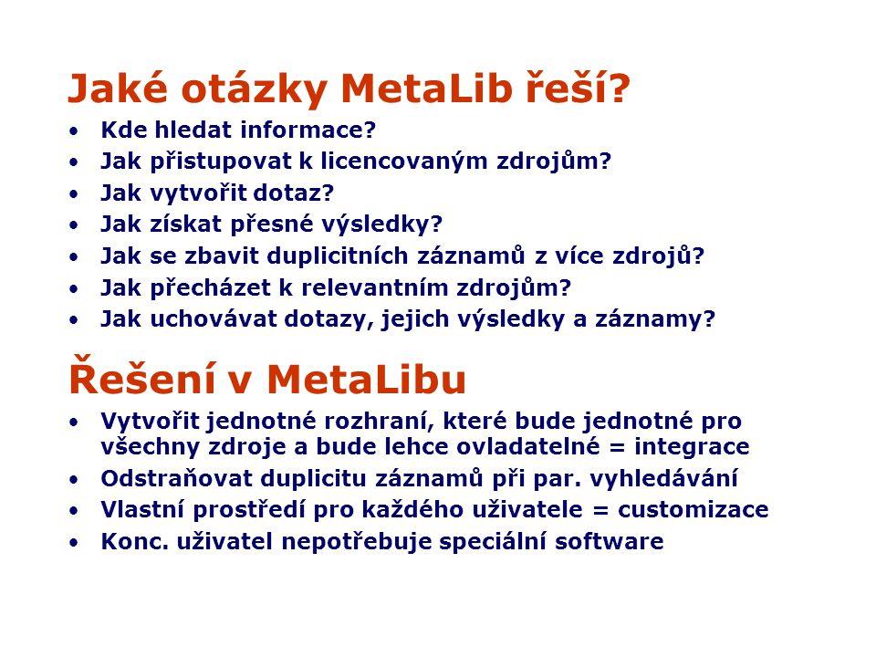 Jaké otázky MetaLib řeší. Kde hledat informace. Jak přistupovat k licencovaným zdrojům.