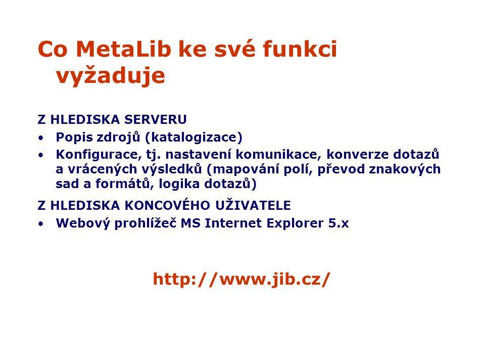 Co MetaLib ke své funkci vyžaduje Z HLEDISKA SERVERU Popis zdrojů (katalogizace) Konfigurace, tj.