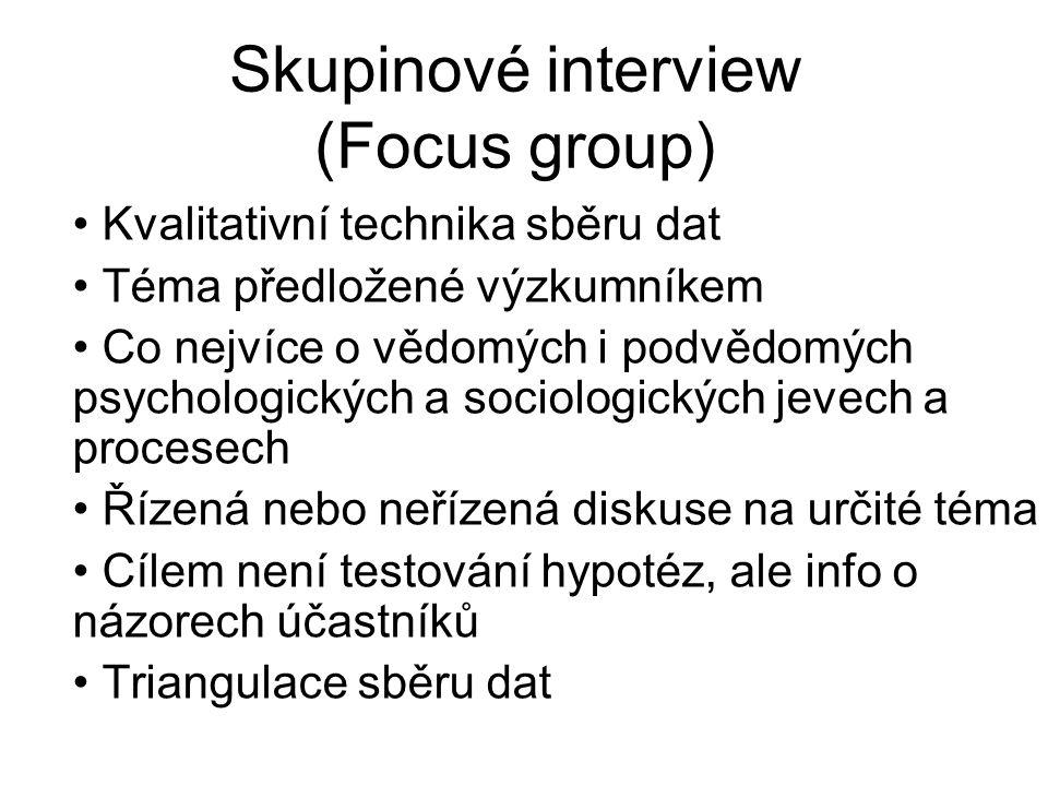 Skupinové interview (Focus group) Kvalitativní technika sběru dat Téma předložené výzkumníkem Co nejvíce o vědomých i podvědomých psychologických a so