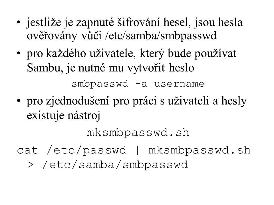 jestliže je zapnuté šifrování hesel, jsou hesla ověřovány vůči /etc/samba/smbpasswd pro každého uživatele, který bude používat Sambu, je nutné mu vytv