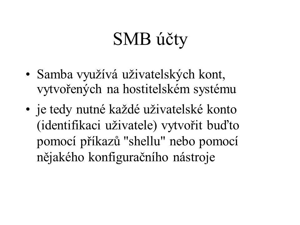 SMB účty Samba využívá uživatelských kont, vytvořených na hostitelském systému je tedy nutné každé uživatelské konto (identifikaci uživatele) vytvořit
