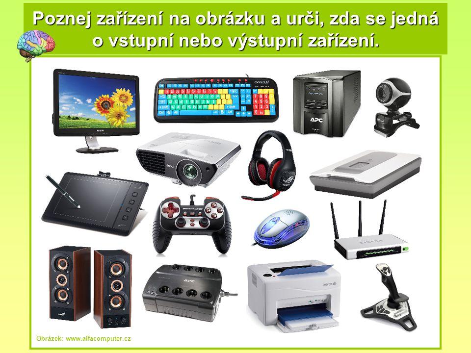 Poznej zařízení na obrázku a urči, zda se jedná o vstupní nebo výstupní zařízení. Obrázek: www.alfacomputer.cz