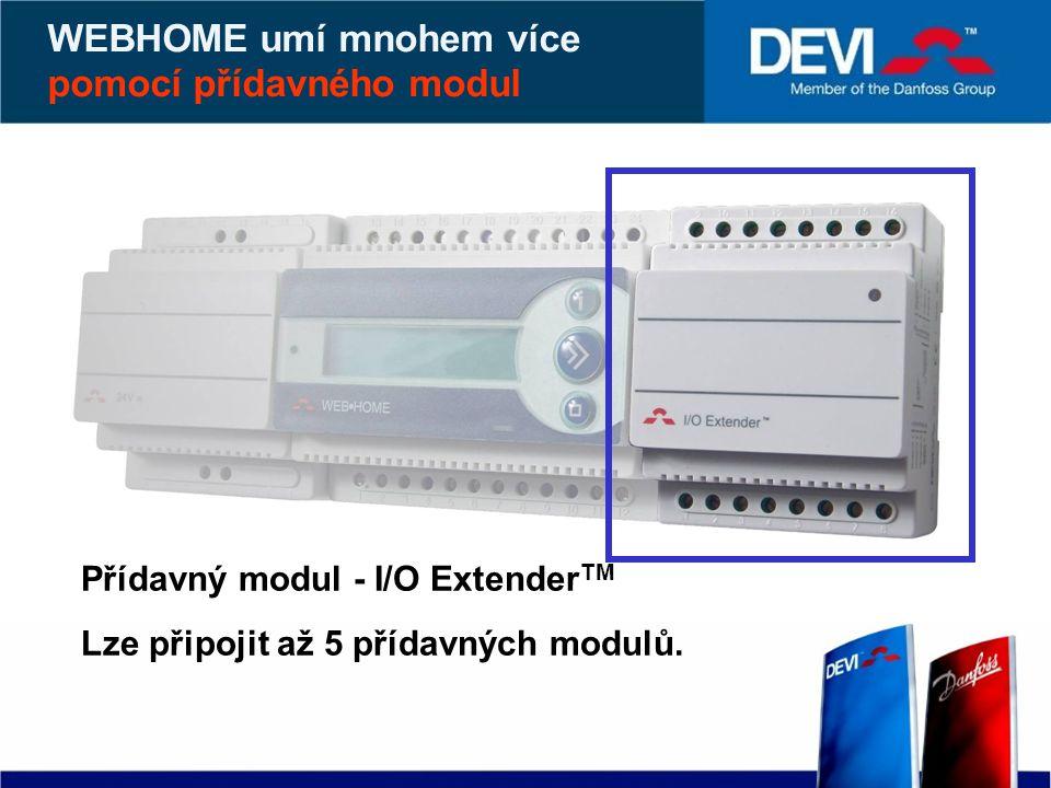 WEBHOME umí mnohem více pomocí přídavného modul Přídavný modul - I/O Extender TM Lze připojit až 5 přídavných modulů.