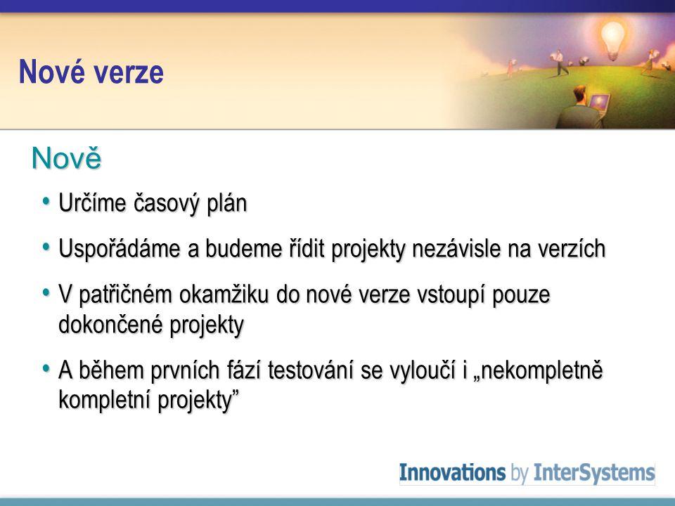 """Nové verze Určíme časový plán Určíme časový plán Uspořádáme a budeme řídit projekty nezávisle na verzích Uspořádáme a budeme řídit projekty nezávisle na verzích V patřičném okamžiku do nové verze vstoupí pouze dokončené projekty V patřičném okamžiku do nové verze vstoupí pouze dokončené projekty A během prvních fází testování se vyloučí i """"nekompletně kompletní projekty A během prvních fází testování se vyloučí i """"nekompletně kompletní projekty Nově"""