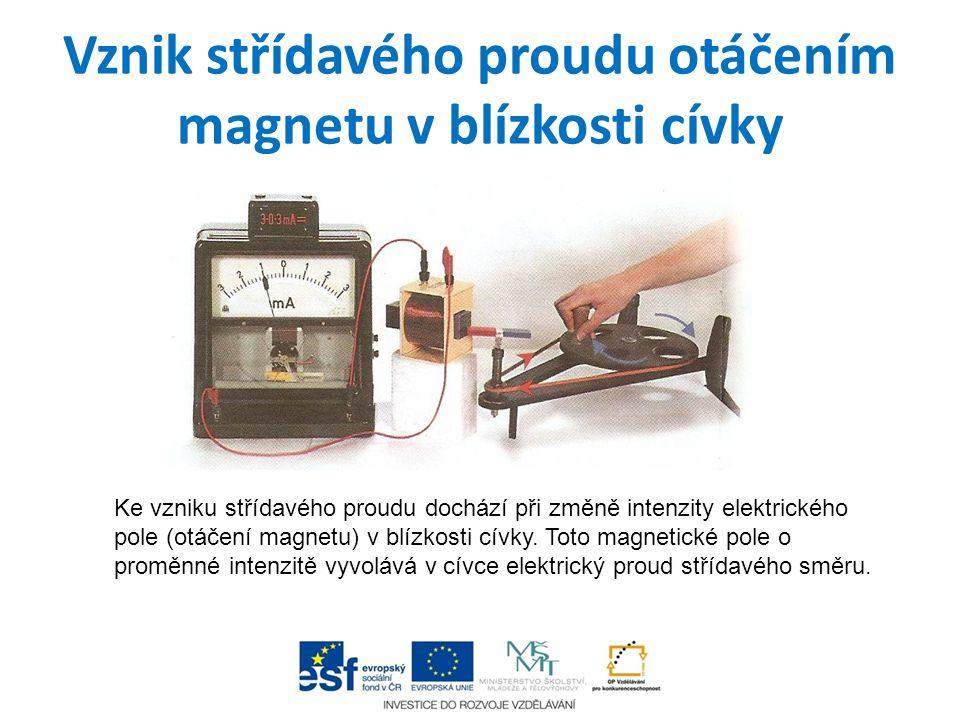 Vznik střídavého proudu otáčením magnetu v blízkosti cívky Ke vzniku střídavého proudu dochází při změně intenzity elektrického pole (otáčení magnetu)