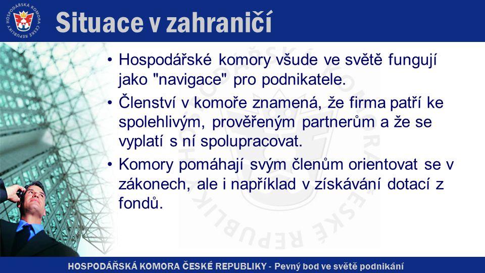 HOSPODÁŘSKÁ KOMORA ČESKÉ REPUBLIKY - Pevný bod ve světě podnikání Situace v zahraničí Hospodářské komory všude ve světě fungují jako navigace pro podnikatele.