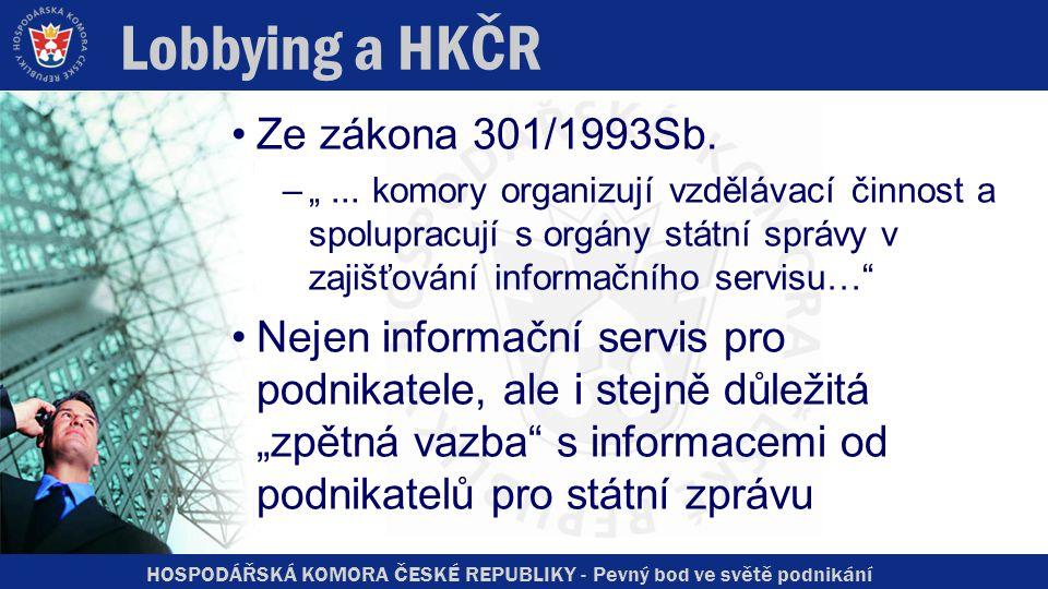 HOSPODÁŘSKÁ KOMORA ČESKÉ REPUBLIKY - Pevný bod ve světě podnikání Lobbying a HKČR Ze zákona 301/1993Sb.