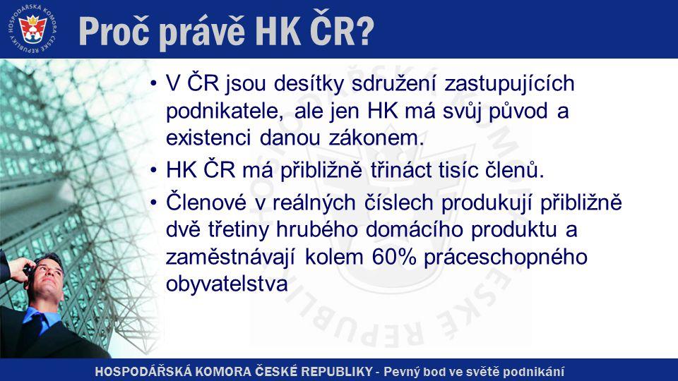 HOSPODÁŘSKÁ KOMORA ČESKÉ REPUBLIKY - Pevný bod ve světě podnikání Proč právě HK ČR? V ČR jsou desítky sdružení zastupujících podnikatele, ale jen HK m