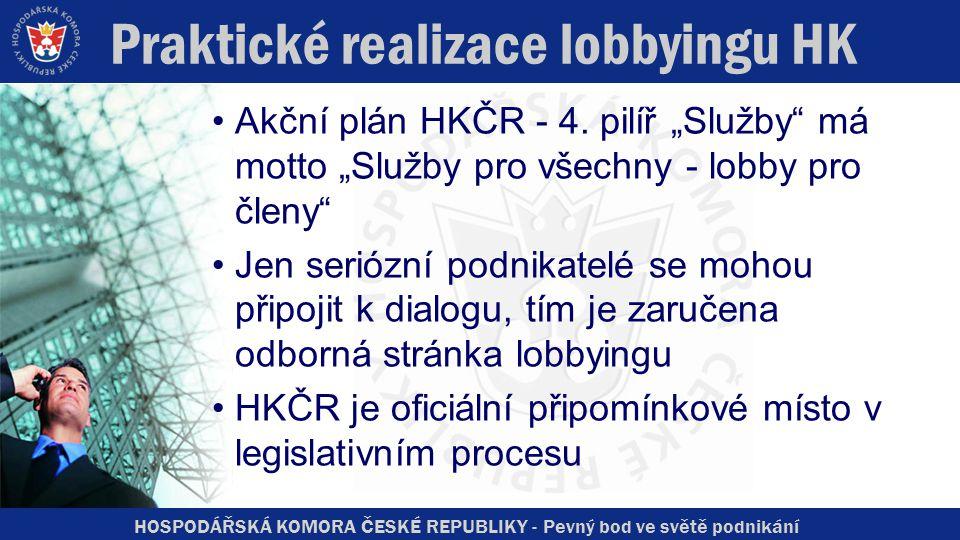 """HOSPODÁŘSKÁ KOMORA ČESKÉ REPUBLIKY - Pevný bod ve světě podnikání Praktické realizace lobbyingu HK Akční plán HKČR - 4. pilíř """"Služby"""" má motto """"Služb"""