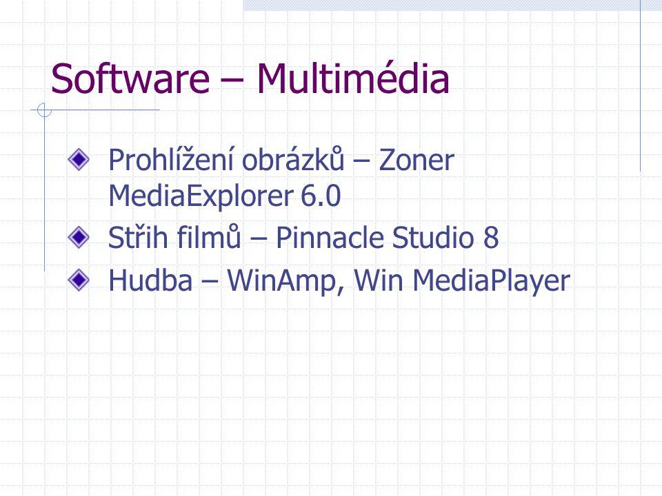 Software – Multimédia Prohlížení obrázků – Zoner MediaExplorer 6.0 Střih filmů – Pinnacle Studio 8 Hudba – WinAmp, Win MediaPlayer