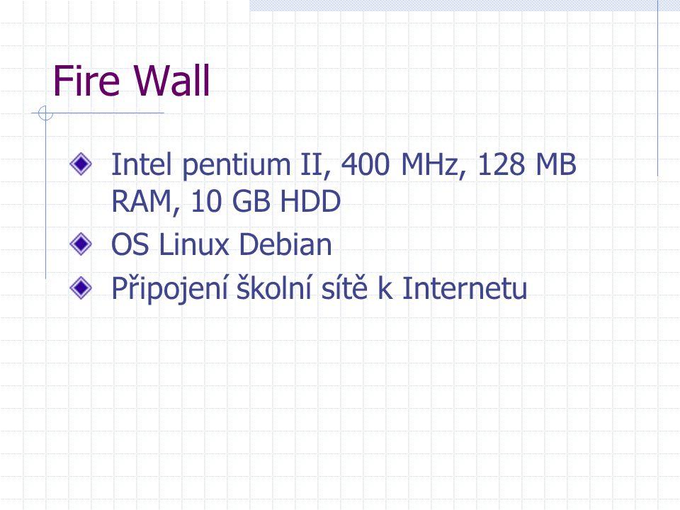 Fire Wall Intel pentium II, 400 MHz, 128 MB RAM, 10 GB HDD OS Linux Debian Připojení školní sítě k Internetu