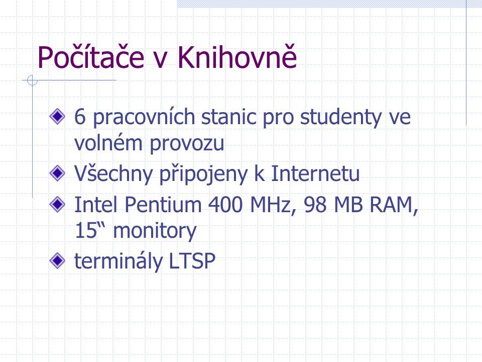 Počítače v Knihovně 6 pracovních stanic pro studenty ve volném provozu Všechny připojeny k Internetu Intel Pentium 400 MHz, 98 MB RAM, 15 monitory terminály LTSP