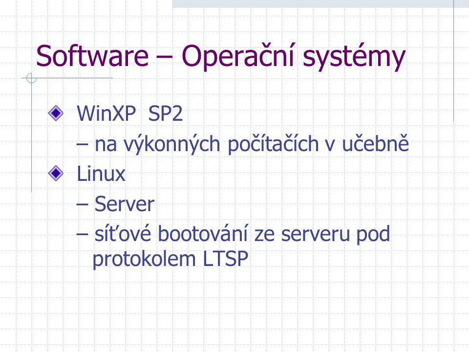 Software – Operační systémy WinXP SP2 – na výkonných počítačích v učebně Linux – Server – síťové bootování ze serveru pod protokolem LTSP
