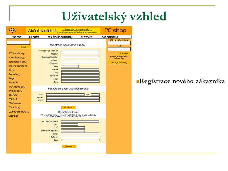 Uživatelský vzhled Registrace nového zákazníka