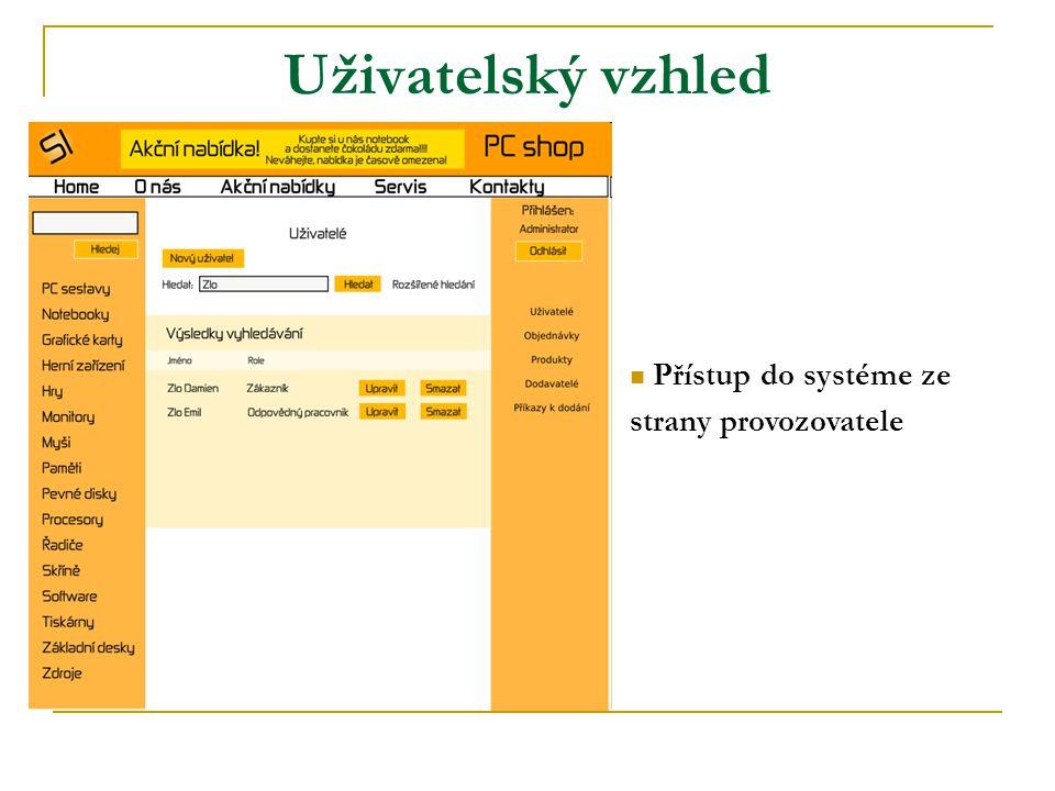 Uživatelský vzhled Přístup do systéme ze strany provozovatele