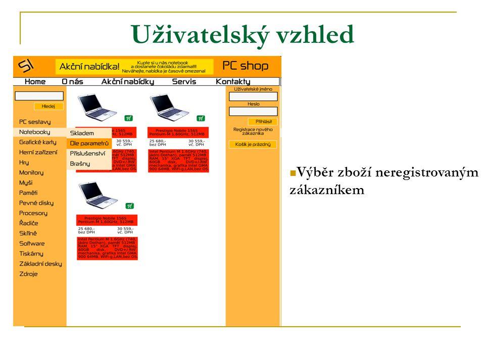 Uživatelský vzhled Výběr zboží neregistrovaným zákazníkem