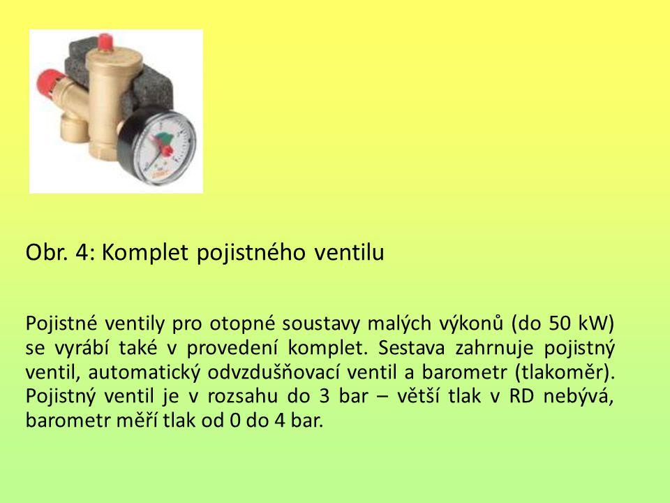 Obr. 4: Komplet pojistného ventilu Pojistné ventily pro otopné soustavy malých výkonů (do 50 kW) se vyrábí také v provedení komplet. Sestava zahrnuje