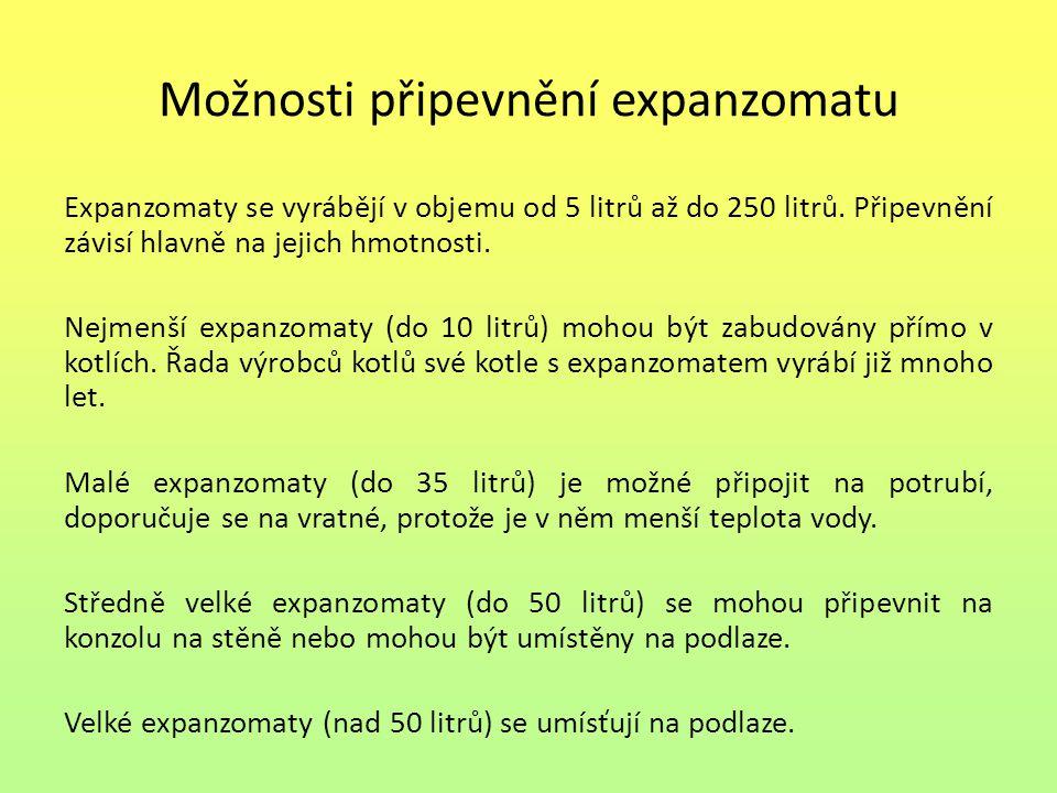 Možnosti připevnění expanzomatu Expanzomaty se vyrábějí v objemu od 5 litrů až do 250 litrů. Připevnění závisí hlavně na jejich hmotnosti. Nejmenší ex