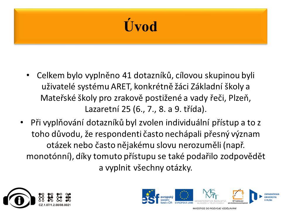 Celkem bylo vyplněno 41 dotazníků, cílovou skupinou byli uživatelé systému ARET, konkrétně žáci Základní školy a Mateřské školy pro zrakově postižené a vady řeči, Plzeň, Lazaretní 25 (6., 7., 8.