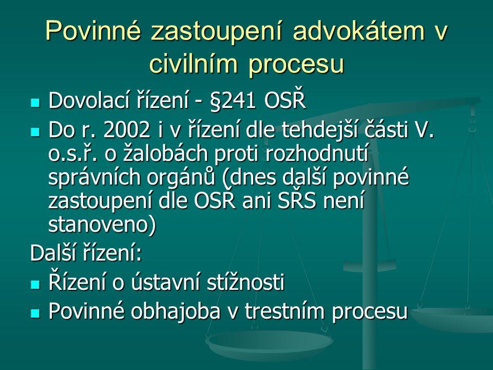 Povinné zastoupení advokátem v civilním procesu Dovolací řízení - §241 OSŘ Dovolací řízení - §241 OSŘ Do r. 2002 i v řízení dle tehdejší části V. o.s.
