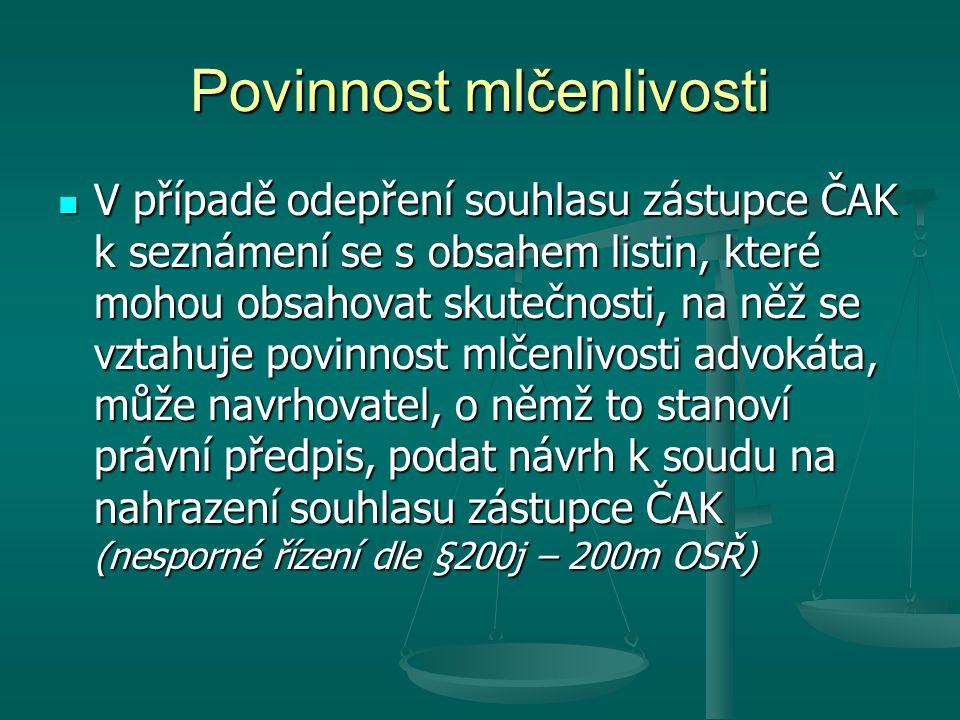 """Oprávnění poskytovat právní služby Právní služby na území České republiky jsou oprávněni poskytovat 1) Podle zákona o advokacii za podmínek stanovených tímto zákonem a způsobem v něm uvedeným a) advokáti, b) osoby se statutem """"evropský advokát , 2) Podle zvláštních zákonů (jen v omezeném rozsahu) a) notáři, b) soudní exekutoři, c) patentoví zástupci a d) daňoví poradci."""