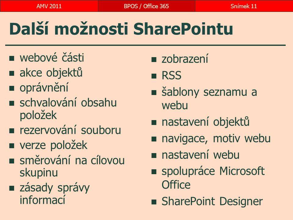 Další možnosti SharePointu webové části akce objektů oprávnění schvalování obsahu položek rezervování souboru verze položek směrování na cílovou skupinu zásady správy informací zobrazení RSS šablony seznamu a webu nastavení objektů navigace, motiv webu nastavení webu spolupráce Microsoft Office SharePoint Designer BPOS / Office 365Snímek 11AMV 2011